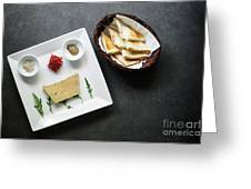 Traditional French Foie Gras Pate And Toast Starter Snack Platte Greeting Card
