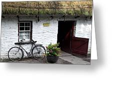 Traditional Thatch Roof Cottage Ireland Greeting Card