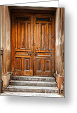 Traditional Wooden Door Greeting Card