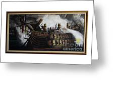 Trafalgar - Destruction Of The Bucentaure 72 X 36 In 182 X 91 Cm Greeting Card
