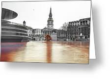 Trafalgar Square Fountain London 3b Greeting Card