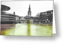 Trafalgar Square Fountain London 3c Greeting Card