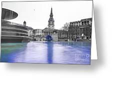Trafalgar Square Fountain London 3d Greeting Card