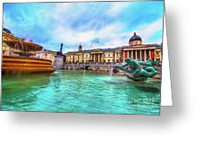 Trafalgar Square Fountain London 5 Art Greeting Card