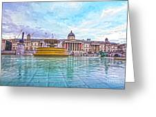 Trafalgar Square Fountain London 8 Greeting Card
