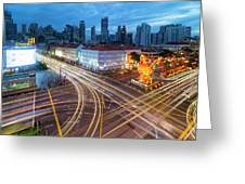 Traffic Light Trails In Singapore Chinatown Greeting Card