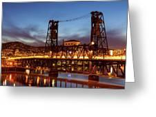 Traffic Light Trails On Steel Bridge Greeting Card