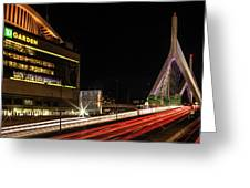 Traffic Racing Over Zakim Bridge Greeting Card