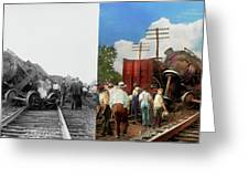 Train - Accident - Butting Heads 1922 - Side By Side Greeting Card