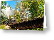 Train Approaching Bridge Greeting Card