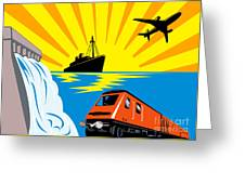 Train Boat Plane And Dam Greeting Card