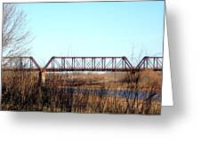 Train Bridge Over Red River From Texas To Oklahoma Greeting Card