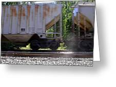 Train Cars With Light Spots Greeting Card