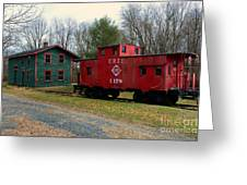 Train - Erie Rr Line Caboose Greeting Card