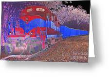 Train On Railroad Tracks - Abstract In Blue And Red Greeting Card