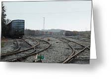 Train On Tracks Greeting Card