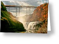 Train Over Letchworth Greeting Card by Ken Marsh