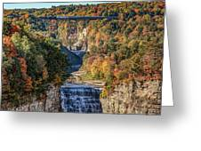 Train Over Letchworth Greeting Card