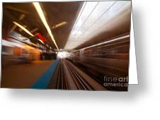 Train Station In Motion Greeting Card