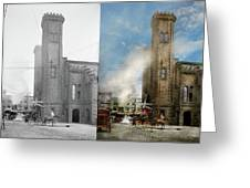 Train Station - Look Out For The Train 1910 - Side By Side Greeting Card