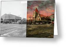 Train Station - Ny Central Railroad Depot 1905 - Side By Side Greeting Card