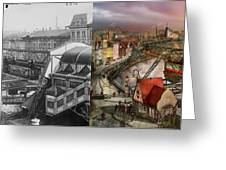 Train Station - Wuppertal Suspension Railway 1913 - Side By Side Greeting Card