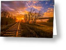 Train Track Sunrise Greeting Card