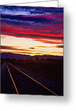 Train Track Sunset Greeting Card by James BO  Insogna