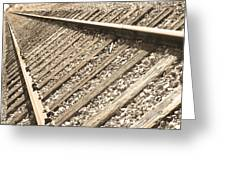 Train Tracks Sepia Triangular  Greeting Card