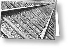 Train Tracks Triangular In Black And White Greeting Card