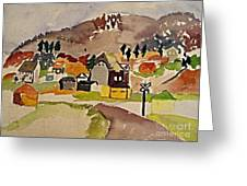 Train Whistle Stop Village  Greeting Card