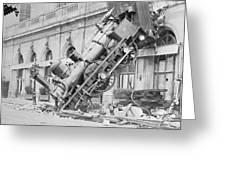 Train Wreck At Montparnasse Station Greeting Card