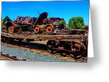 Train Wreckage On Flat Car Greeting Card