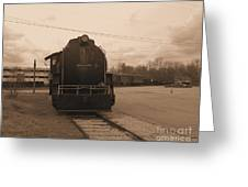 Trains 3 Sepia Greeting Card