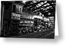 Trains 3007 C B Q Steam Engine Bw Greeting Card