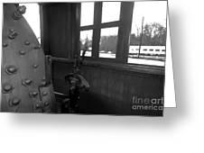 Trains 5 Blkwht Greeting Card