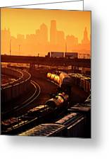 Trains At Sunrise Greeting Card