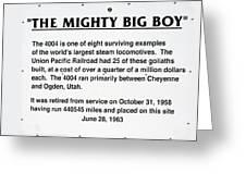 Trains Mighty Big Boy Signage Greeting Card