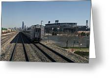 Trains Passing The Home Of The Chicago White Sox Greeting Card