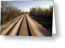 Trains Power Approaching The Crossing Greeting Card