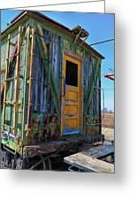 Trains Wooden Box Car Yellow Door Greeting Card