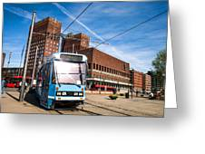 Tram In Front Of Oslo City Hall Greeting Card