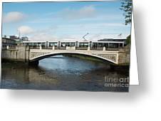Tram On The Sean Heuston Bridge Greeting Card
