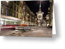 Tram Rushes In The Street Of Bern Greeting Card