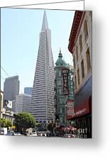 Transamerica Pyramid Through North Beach San Francisco . 7434 Greeting Card by Wingsdomain Art and Photography