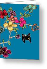 Transparent Flowers And Butterflies In Color Greeting Card