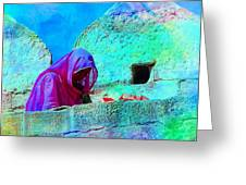 Travel Exotic Woman On Ramparts Mehrangarh Fort India Rajasthan 1e Greeting Card