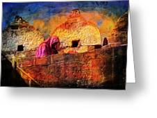 Travel Exotic Woman On Ramparts Mehrangarh Fort India Rajasthan 1h Greeting Card