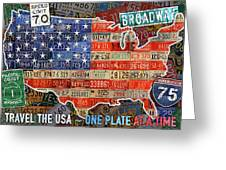 Travel The Usa One Plate At A Time License Plate Art By Design Turnpike Greeting Card