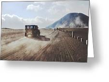 Traveling And Exploring Indonesian Volcanoes Greeting Card